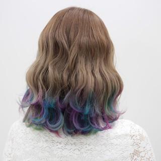 ダブルカラー ユニコーンカラー 波ウェーブ レインボーカラー ヘアスタイルや髪型の写真・画像   kanata / CLLN hair design