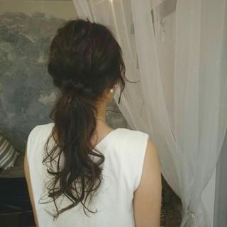 フェミニン ポニーテール ロング 涼しげ ヘアスタイルや髪型の写真・画像