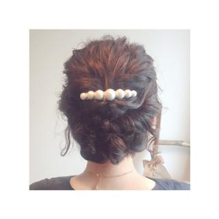 ミディアム ヘアアレンジ ツイスト ロープ編み ヘアスタイルや髪型の写真・画像
