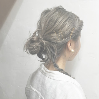 ピュア ミディアム 簡単ヘアアレンジ ハーフアップ ヘアスタイルや髪型の写真・画像