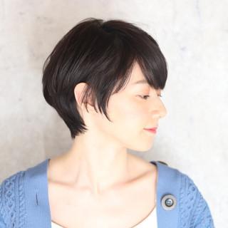 ショート 黒髪 ショートヘア 白髪染め ヘアスタイルや髪型の写真・画像