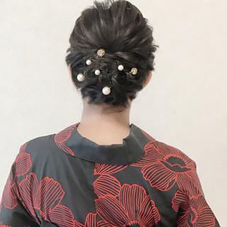 簡単ヘアアレンジ 結婚式 浴衣アレンジ ボブ ヘアスタイルや髪型の写真・画像