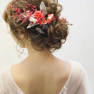 女子力 結婚式 ヘアアレンジ ガーリー ヘアスタイルや髪型の写真・画像