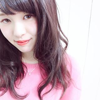 パープル ピンク ロング 前髪あり ヘアスタイルや髪型の写真・画像