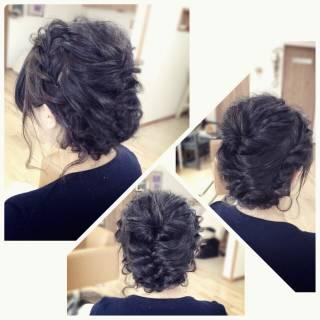 編み込み ロング アップスタイル パーティ ヘアスタイルや髪型の写真・画像