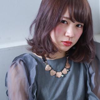 ミディアム ゆるふわ 外国人風 ガーリー ヘアスタイルや髪型の写真・画像