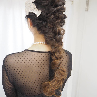 ヘアアレンジ 編み込み 結婚式 簡単ヘアアレンジ ヘアスタイルや髪型の写真・画像