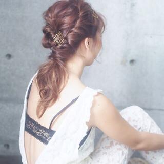 ヘアアレンジ くるりんぱ 編み込み ミディアム ヘアスタイルや髪型の写真・画像 ヘアスタイルや髪型の写真・画像