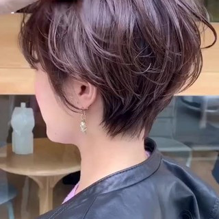 パーマ 大人女子 ショート オフィス ヘアスタイルや髪型の写真・画像