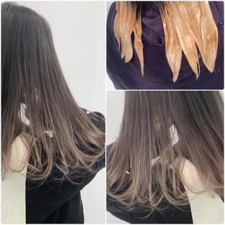 ハイライト セミロング 透明感 ナチュラル ヘアスタイルや髪型の写真・画像