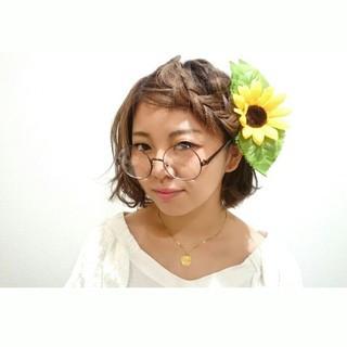簡単ヘアアレンジ ショート ヘアアレンジ パーティ ヘアスタイルや髪型の写真・画像