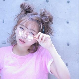 お団子 ミディアム 夏 ヘアアレンジ ヘアスタイルや髪型の写真・画像