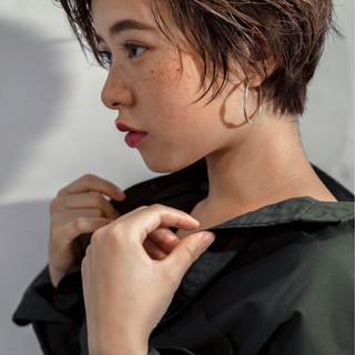 小顔 似合わせ ヘアアレンジ ショート ヘアスタイルや髪型の写真・画像