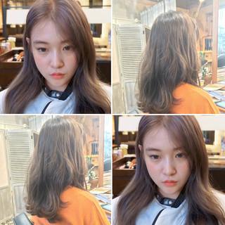 オルチャン アンニュイほつれヘア セミロング ヘアアレンジ ヘアスタイルや髪型の写真・画像