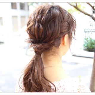 アップスタイル 編み込み ヘアアレンジ セミロング ヘアスタイルや髪型の写真・画像
