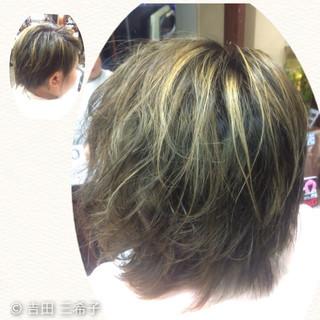 ハイライト ブリーチ ショート アッシュ ヘアスタイルや髪型の写真・画像