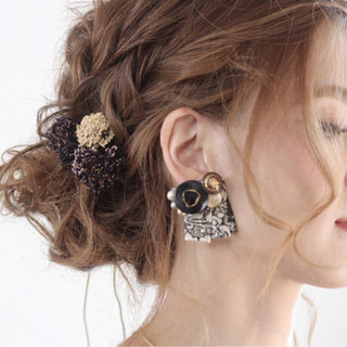 上品 ウェーブ パーティ エレガント ヘアスタイルや髪型の写真・画像