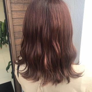 オレンジ オレンジベージュ フェミニン ベージュ ヘアスタイルや髪型の写真・画像