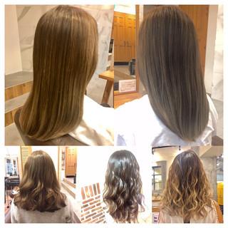 アッシュ 大人かわいい フェミニン グラデーションカラー ヘアスタイルや髪型の写真・画像