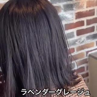 外国人風カラー ラベンダーグレージュ ミディアム ブリーチカラー ヘアスタイルや髪型の写真・画像