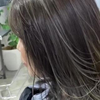 3Dハイライト ハイライト ミディアム ストリート ヘアスタイルや髪型の写真・画像
