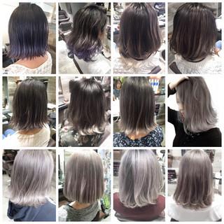 ホワイト ボブ グレージュ アッシュグレージュ ヘアスタイルや髪型の写真・画像
