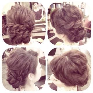 ねじり アップスタイル ヘアアレンジ 編み込み ヘアスタイルや髪型の写真・画像