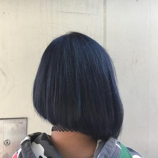 ボブ 暗髪 ブルージュ ブルー ヘアスタイルや髪型の写真・画像