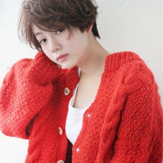 パーマ ガーリー 冬 ショート ヘアスタイルや髪型の写真・画像