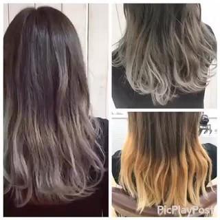 モード インナーカラー ロング グレージュ ヘアスタイルや髪型の写真・画像