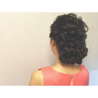 簡単ヘアアレンジ ゆるふわ ヘアアレンジ 黒髪 ヘアスタイルや髪型の写真・画像