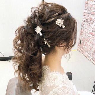 女子力 アンニュイ ヘアアレンジ 結婚式 ヘアスタイルや髪型の写真・画像