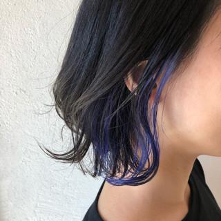 ネイビーブルー インナーブルー ボブ ネイビーアッシュ ヘアスタイルや髪型の写真・画像
