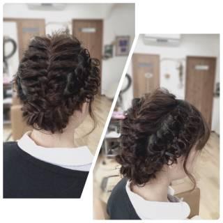 コンサバ アップスタイル ロング 編み込み ヘアスタイルや髪型の写真・画像