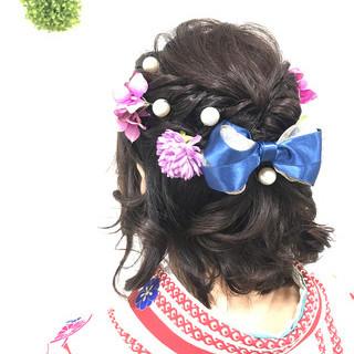 着物 かわいい ガーリー ボブ ヘアスタイルや髪型の写真・画像