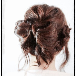 ヘアアレンジ ガーリー 愛され セミロング ヘアスタイルや髪型の写真・画像
