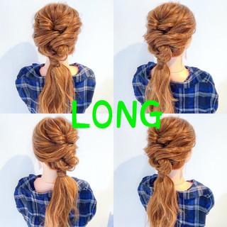オフィス アウトドア フェミニン ヘアアレンジ ヘアスタイルや髪型の写真・画像 ヘアスタイルや髪型の写真・画像
