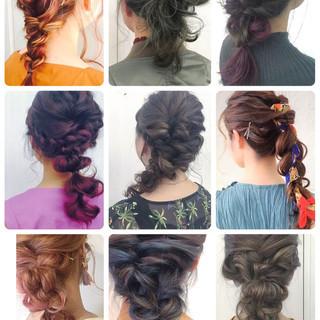 ベージュ 結婚式 編み込み ガーリー ヘアスタイルや髪型の写真・画像