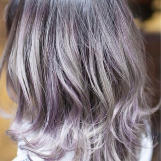 グラデーションカラー ストリート ミディアム ダブルカラー ヘアスタイルや髪型の写真・画像