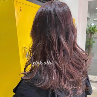 ガーリー ピンクラベンダー ピンクベージュ ピンクアッシュ ヘアスタイルや髪型の写真・画像