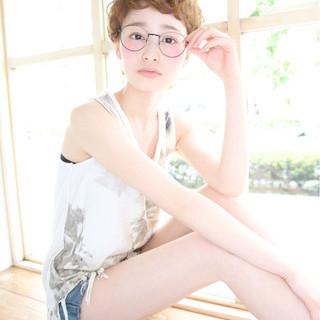 ショート ブラウン パーマ 大人かわいい ヘアスタイルや髪型の写真・画像