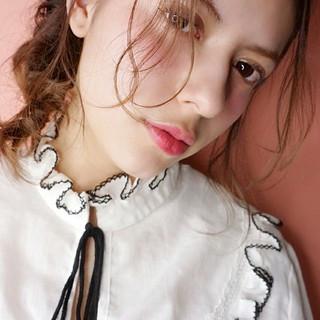 簡単ヘアアレンジ フェミニン ヘアアレンジ セミロング ヘアスタイルや髪型の写真・画像