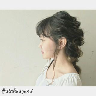 デート ミディアム 透明感 フェミニン ヘアスタイルや髪型の写真・画像