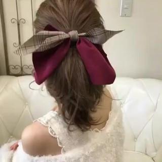 簡単ヘアアレンジ セミロング 冬 ローポニーテール ヘアスタイルや髪型の写真・画像 ヘアスタイルや髪型の写真・画像
