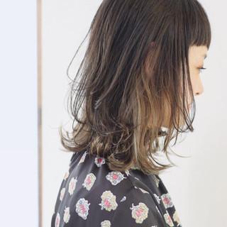 ストリート バレイヤージュ ミディアム グラデーションカラー ヘアスタイルや髪型の写真・画像