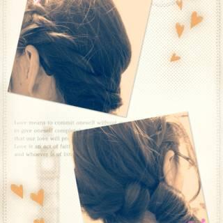 ゆるふわ ロープ編み コンサバ ヘアアレンジ ヘアスタイルや髪型の写真・画像