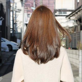 セミロング パーマ ストレート 縮毛矯正 ヘアスタイルや髪型の写真・画像