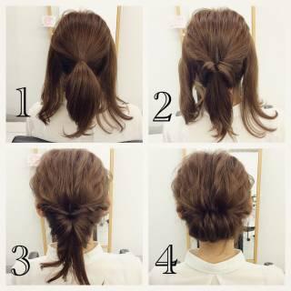 ミディアム ヘアアレンジ 簡単ヘアアレンジ ルーズ ヘアスタイルや髪型の写真・画像