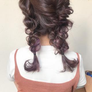 ヘアアレンジ パープル 結婚式 ミディアム ヘアスタイルや髪型の写真・画像