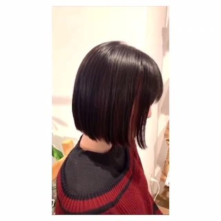 ストリート インナーピンク 切りっぱなしボブ インナーカラー ヘアスタイルや髪型の写真・画像